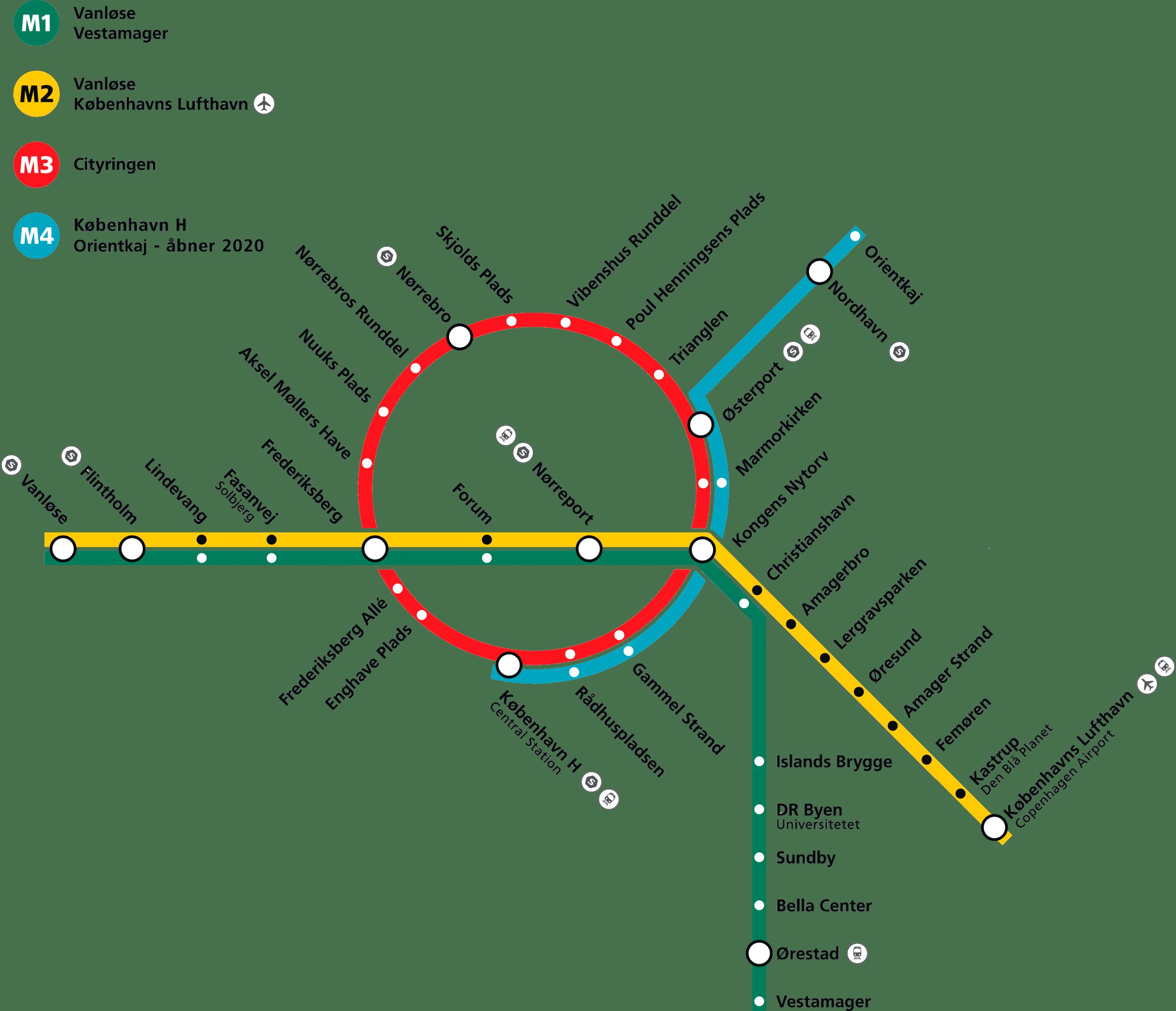 Kort over metrostationer